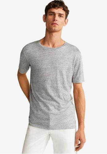 Mango Man grey Linen T-Shirt 641AAAA9873E3BGS_1