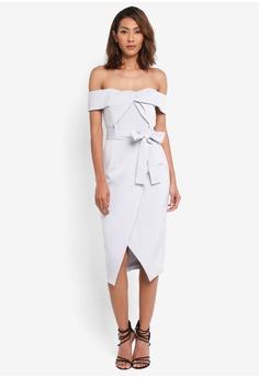 Lavish Alice grey Woven Twist Bardot Midi Dress LA457AA0SSVVMY_1