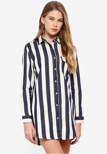 ac9127da34721 Shop MISSGUIDED Petite Stripe Denim Shirt Dress Online on ZALORA Philippines