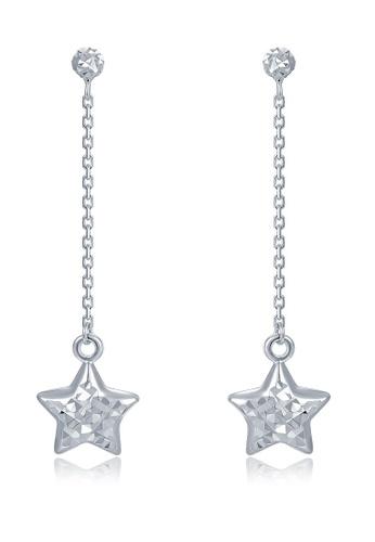 MaBelle silver 14K 585 White Gold Diamond Cut Star Drop Stud Earrings 89FEFAC01467EAGS_1