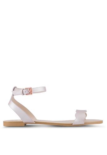 Velvet pink Scalloped Flat Sandals 9567FSHF7DE33FGS_1