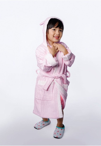 Cheekaaboo pink Kids Girl Bamboo Hooded Bear Embroidery Bathrobe 0796CKC1D018D4GS_1