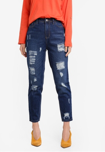 Penshoppe blue Vintage Slim Jeans With Distressed Effect PE124AA0SN0BMY_1
