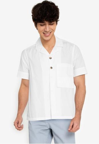 ZALORA BASICS white Long Rectangle Pocket Shirt A4B84AA3A30CD1GS_1