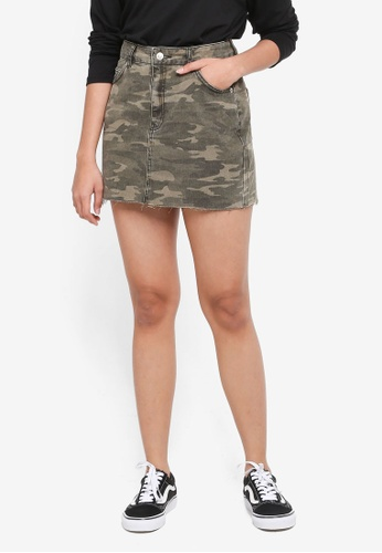TOPSHOP brown Petite Camouflage Denim Skirt B38E5AAD296336GS_1