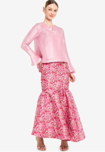 Lubna pink and green Curved Hem Hi-lo Kurung BC910AAE412FFDGS_1