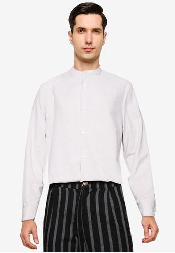 ZALORA BASICS grey Mandarin Collar Long Sleeves Shirt 0C323AACDE14F7GS_1
