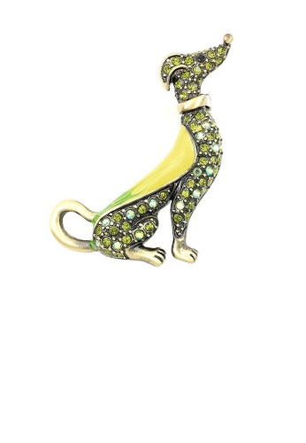Glamorousky yellow Elegant Dog Brooch with Green and Yellow Austrian Element Crystals AFB24ACE712469GS_1