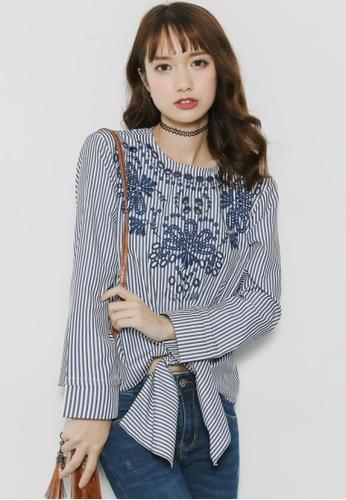 Shopsfashion blue Embroidery Tie a Knot Blouse SH656AA66LFHSG_1