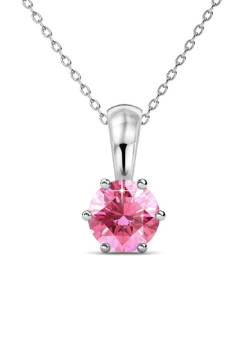 Her Jewellery pink Birth Stone Pendant (October, White Gold) - Made with premium grade crystals from Austria 886B6ACE2BB48EGS_1