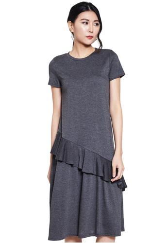 Nichii grey Ruffled Short Sleeve Dress B82D9AA3299384GS_1