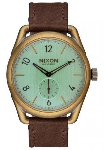 Nixon brown and green Nixon - C39 Leather - Brass/Green Crystal/Brown NI855AC12SVVSG_1