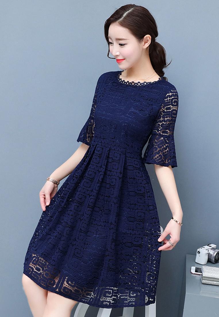 Blue Half Sleeves Lace Full Halo Flared Dress 1EqYcqfBWv