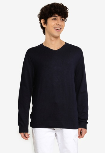 Only & Sons navy V-Neck Knit Pullover BF413AA713D78BGS_1