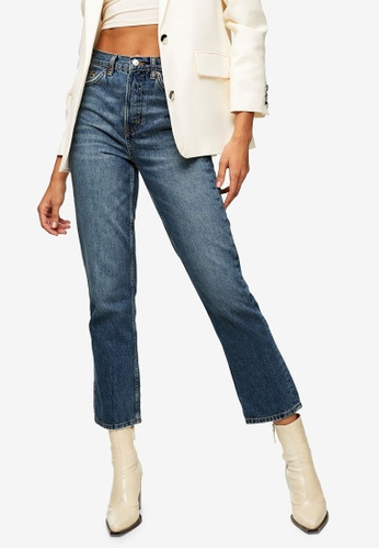 TOPSHOP blue Mid Blue Editor Straight Jeans 407D1AA499D1CBGS_1
