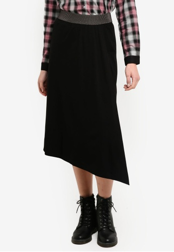 Sisley black Asymmetric Skirt. AB34CAA5176650GS_1