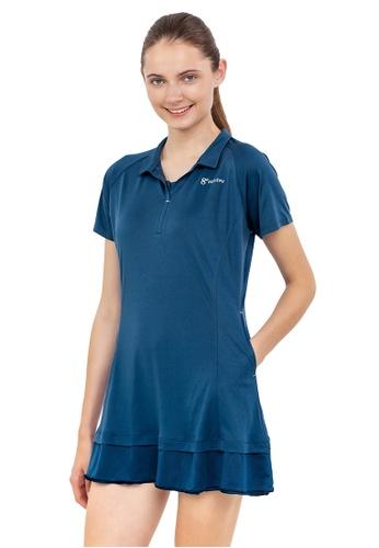 Huitieme blue HUITIÈME DRI FIT FRILLY COLLARED BLUE DRESS. 61080AA146C620GS_1