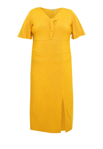 Curvy yellow Plus Size Front Knot Ribbed Dress 6623BAA19E0DAAGS_1