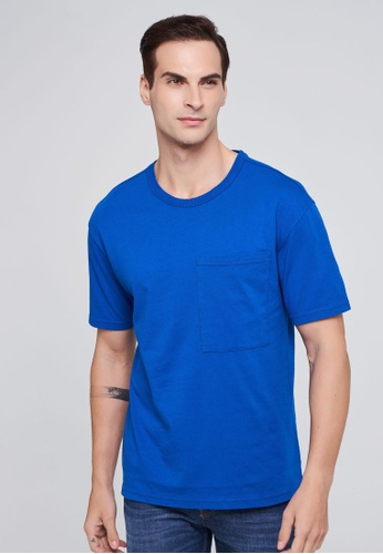 United Colors of Benetton 藍色 口袋設計棉質T恤 6C1BAAA3A5B893GS_1
