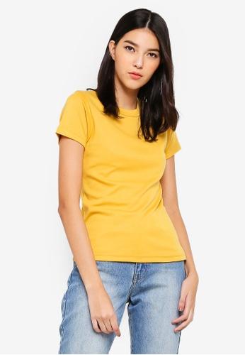 UniqTee yellow Ultrasoft Cotton Crew Neck Tee 96BCDAAA96BDB6GS_1