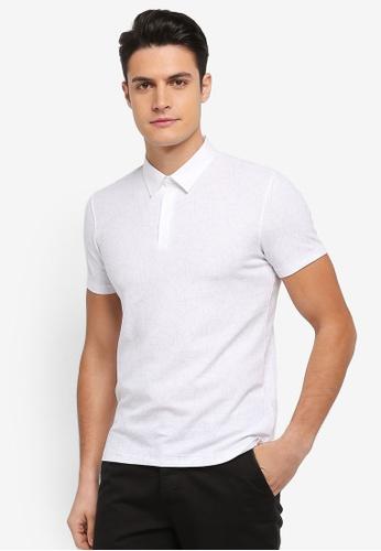 G2000 white Irregular Line Print Polo Shirt CFF57AAF4B978BGS_1