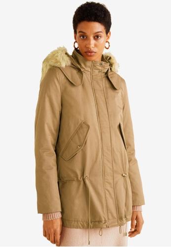 Mango brown Furry Hooded Parka 8C360AA4848045GS_1