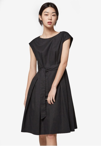 NAIN black Cap Sleeve Belted Dress NA323AA0S6AQMY_1