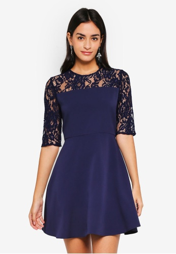 ZALORA navy Lace Sleeve Fit & Flare Dress 72C11AA29807E3GS_1