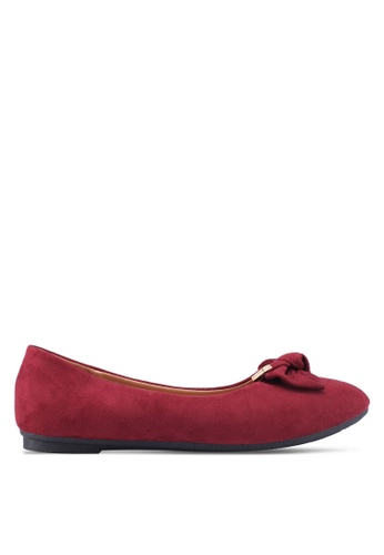 Noveni red Round Toe Flats With Bow 8DB2DSHD057F7AGS_1
