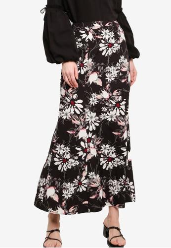 Zalia black Printed Kick Flared Skirt 77966AAF372613GS_1
