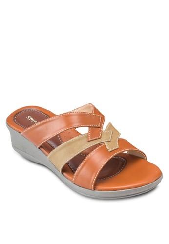雙色多帶楔esprit香港分店形涼鞋, 女鞋, 鞋