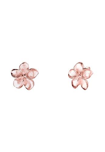 Elli Germany Gold 925 Sterling Silver Rosegold Plated Flower Frangipani Earrings El474ac86gobmy 1