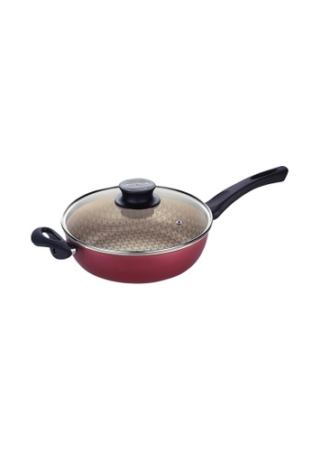 Tramontina red Tramontina Non-stick Skillet with Tempered Glass Lid Paris E9BFEHLAE813DCGS_1
