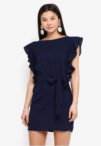 77901ba157 Ruffled Sleeves Crepe Dress