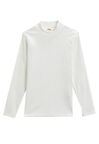 KOTON white Long Sleeves Rib Top FEF68KA417C8C2GS_1