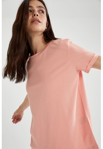 DeFacto pink Woman Knitted Short Sleeve T-Shirt 386F7AAB521E7BGS_1