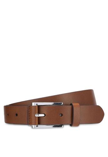 Burton Menswear London brown Brown Tab Detail Belt BU964AC0RJEBMY_1