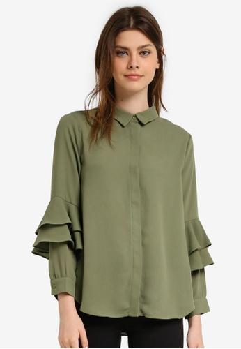 Zalia green Layered Sleeve Shirt 9323DAA5F772FFGS_1