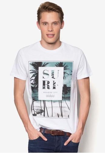 White Surf Print T-Shirt, 服飾esprit手錶專櫃, 服飾