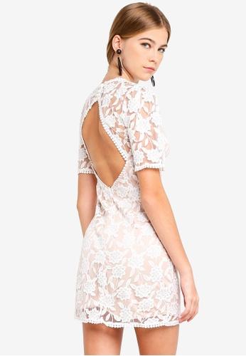 INDIKAH white Short Sleeve Open Back Lace Dress 1B531AA8C42845GS_1