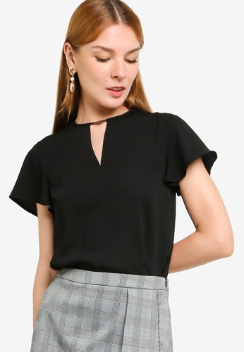 ZALORA WORK black Metal Detail Flare Sleeves Top 22A81AA8C10A93GS_1