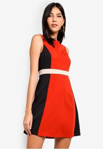 ZALORA 橘色 and 多色 Colourblock Fit And Flare Dress 06EAEAA5EB653EGS_1