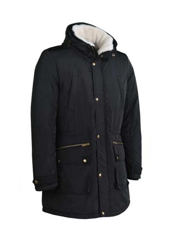 Universal Traveller black Universal Traveller Men Design Quilting Padding Jacket With Hidden Hood PJ6024 UN858AA02RCJMY_1