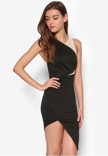撞色薄紗拼接連身裙,esprit旗艦店 服飾, 簡約優雅風格