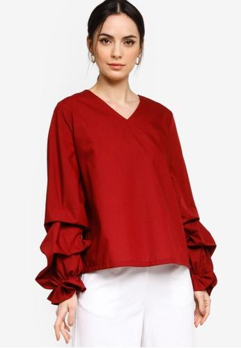 ZALIA BASICS red Puff Tiered Sleeve Top 6A2FFAA21AAC4FGS_1