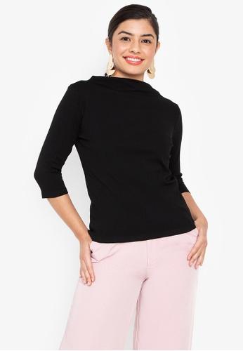 Wear Kris black Kingpin High Neck Rib Knit Top With Elbow Sleeves 9849DAAAFF3469GS_1