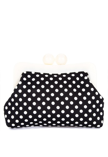 Chloe Edit black and white Dotted Clutch With White Acrylic Frame E45F4AC49043EAGS_1