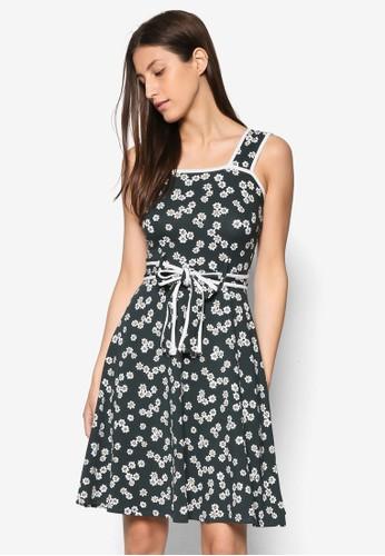 寬肩帶印esprit 澳門花洋裝, 服飾, 洋裝