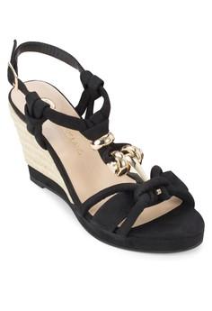 Snake Knot Trim Wedge Sandals
