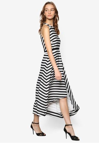 不對稱下擺削肩條紋洋裝esprit 品牌, 服飾, 洋裝